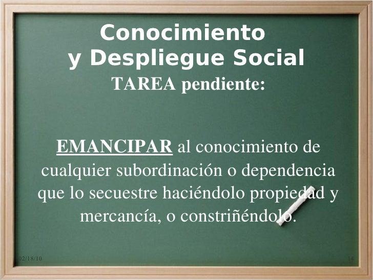 Conocimiento            y Despliegue Social                TAREApendiente:           EMANCIPARalconocimientode       ...