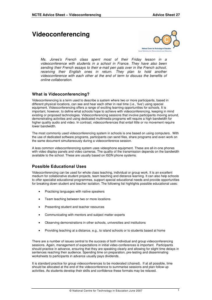 NCTE Advice Sheet – Videoconferencing                                                  Advice Sheet 27     Videoconferenci...