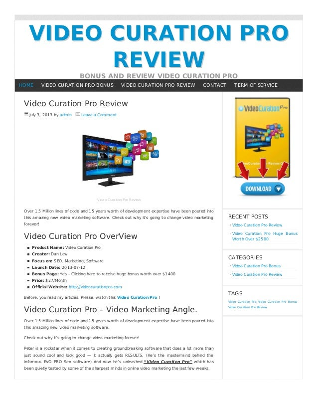 VIDEO CURATION PROVIDEO CURATION PRO REVIEWREVIEW BONUS AND REVIEW VIDEO CURATION PRO Video Curation Pro Review July 3, 20...