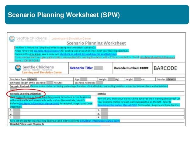 Scenario Planning Worksheet (SPW)
