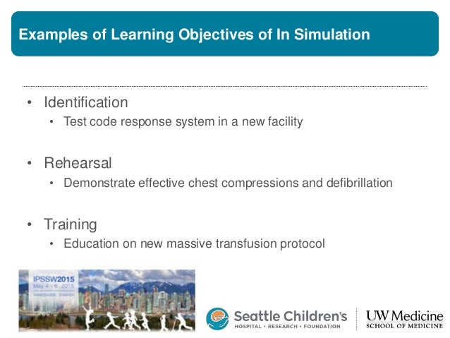 Examples of Learning Objectives of In Simulation • Identification • Test code response system in a new facility • Rehearsa...