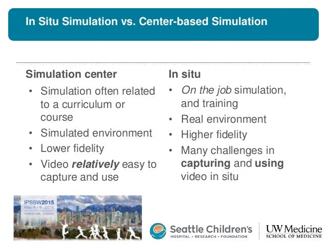 In Situ Simulation vs. Center-based Simulation Simulation center • Simulation often related to a curriculum or course • Si...