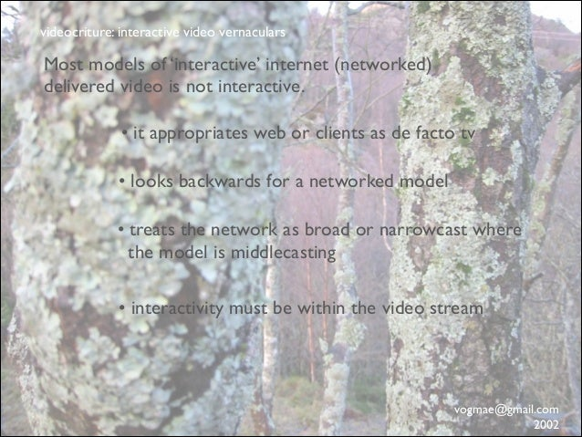 videocriture: interactive video vernaculars  Most models of 'interactive' internet (networked) delivered video is not inte...