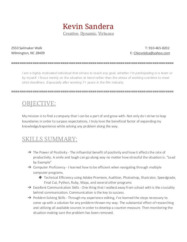 Video Editing Resume. Kevin Sandera Creative , Dynamic , Virtuoso 2550  Sailmaker Walk ...