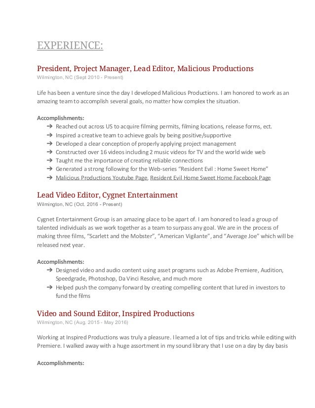 Video Editing Resume