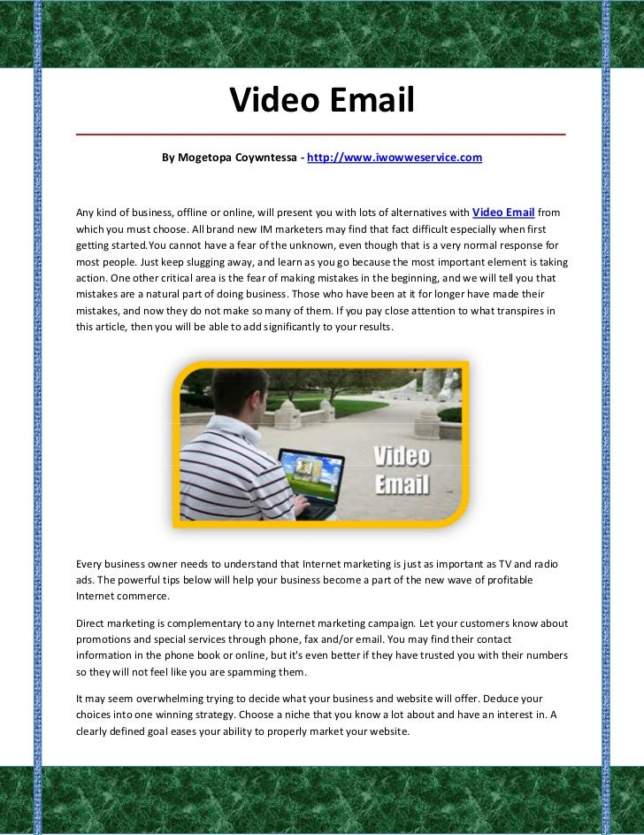 Video Email_____________________________________________________________________________________                  By Moget...
