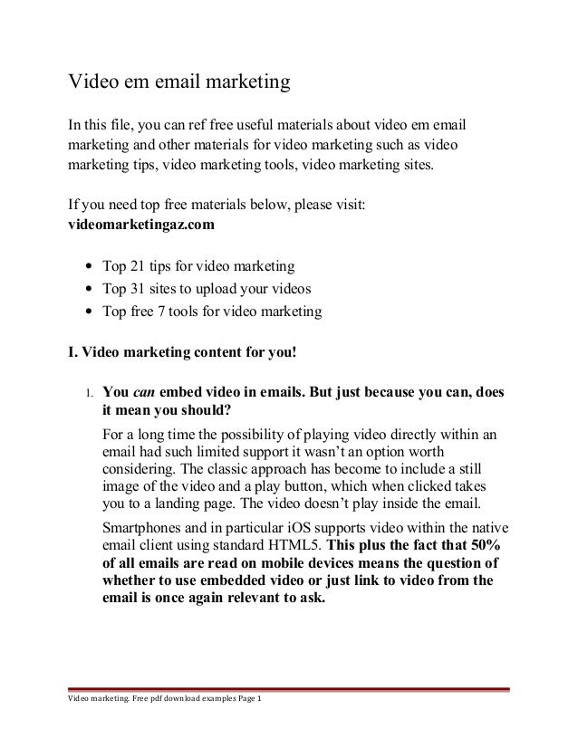 Video em email marketing  In this file, you can ref free useful materials about video em email  marketing and other materi...