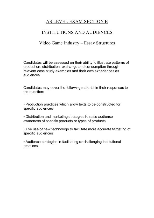 video game industry essay structures as level exam section b institutions and audiences video game industry essay structurescandidates