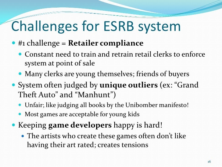 esrb failure At that time, the video game industry aped the efforts of the movie industry, forming the esa and the esrb and developing a ratings system to inform failure to comply by deadline (often discovered by surprise gaming agent inspection) can lead to significant fines being leveraged against the casino for.