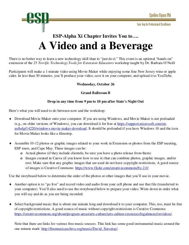 Video Homework Assignment for ESP meeting 10-16