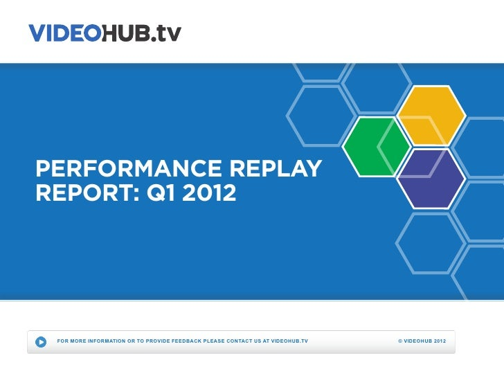PERFORMANCE REPLAYREPORT: Q1 2012 FOR MORE INFORMATION OR TO PROVIDE FEEDBACK PLEASE CONTACT US AT VIDEOHUB.TV   © VIDEOHU...
