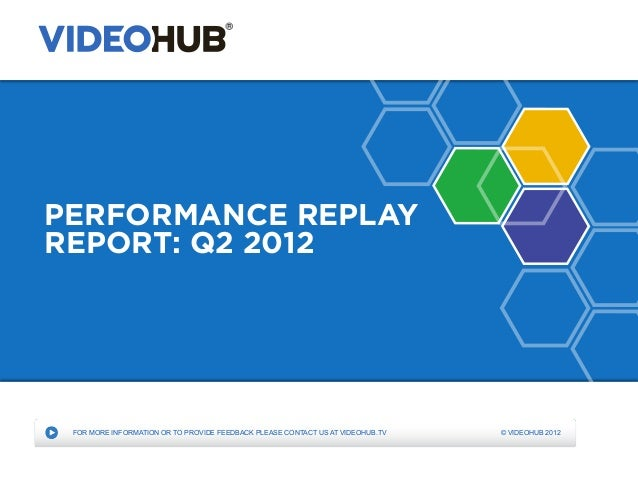 PERFORMANCE REPLAYREPORT: Q2 2012 FOR MORE INFORMATION OR TO PROVIDE FEEDBACK PLEASE CONTACT US AT VIDEOHUB.TV   © VIDEOHU...