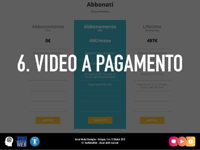 6. VIDEO A PAGAMENTO Social Media Strategies - Bologna, 14 e 15 Ottobre 2015 © YouMediaWeb - Alcuni diritti riservati