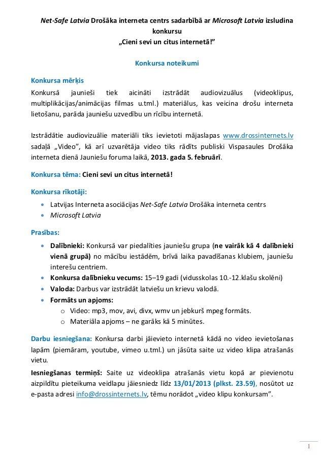 Net-Safe Latvia Drošāka interneta centrs sadarbībā ar Microsoft Latvia izsludina                                      konk...