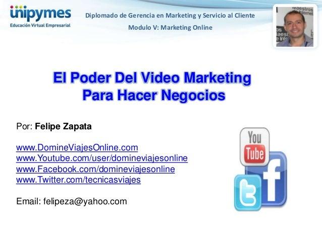Diplomado de Gerencia en Marketing y Servicio al Cliente                              Modulo V: Marketing Online        El...