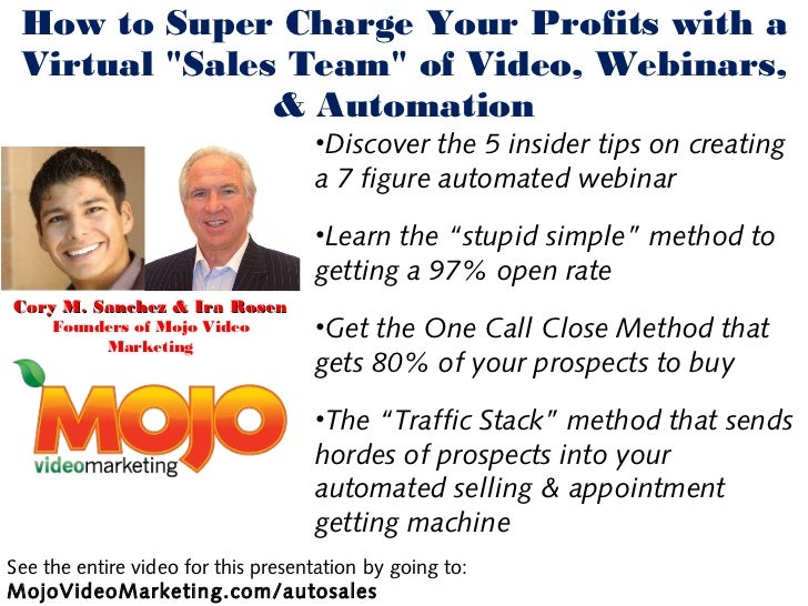 "How to Super Charge Your Profits with a Virtual ""Sales Team"" of Video, Webinars,               & Automation               ..."