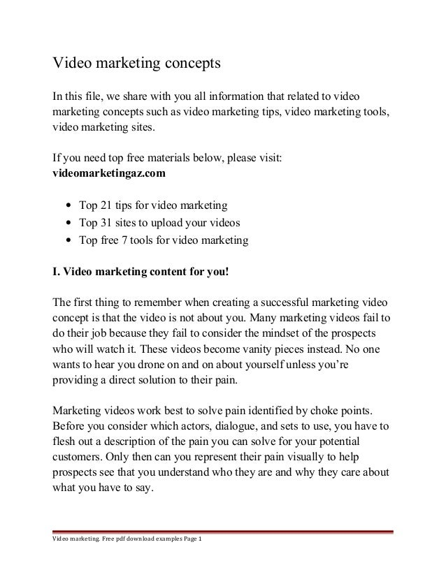 Video Marketing Concepts