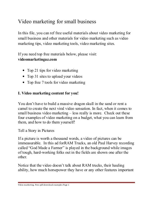 Video marketing for small business  In this file, you can ref free useful materials about video marketing for  small busin...
