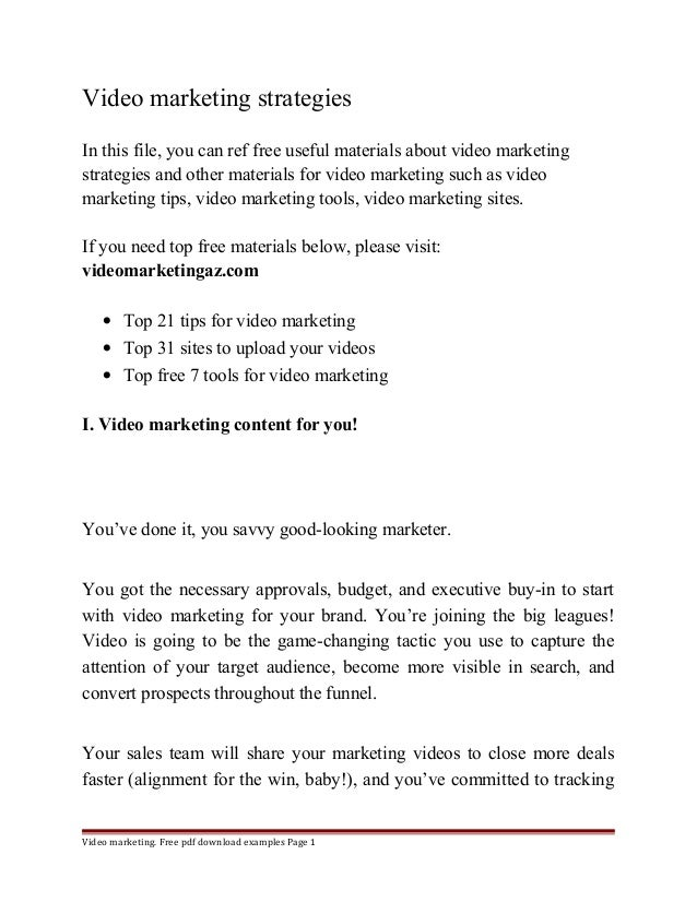 Video marketing strategies  In this file, you can ref free useful materials about video marketing  strategies and other ma...