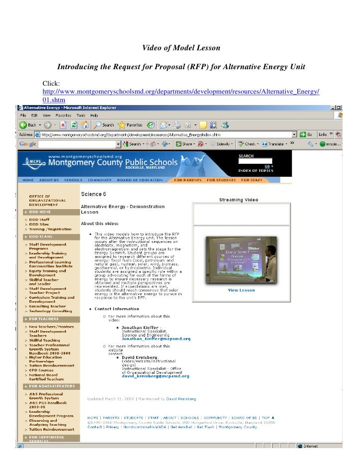 Video of Model Lesson      Introducing the Request for Proposal (RFP) for Alternative Energy Unit Click: http://www.montgo...