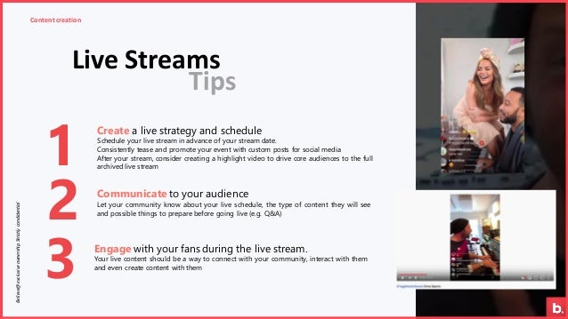Live Streams Content creationBelieve@exclusiveownership.Strictlycondidential 1 2 3 Communicate to your audience Let your c...