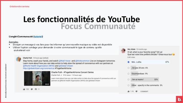 Les fonctionnalités de YouTube Création de contenuBelieve@propriétéexclusive.Strictementconfidentiel L'onglet Communauté (...