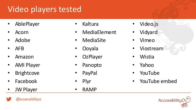 Accessibility Comparison of Major Video Players