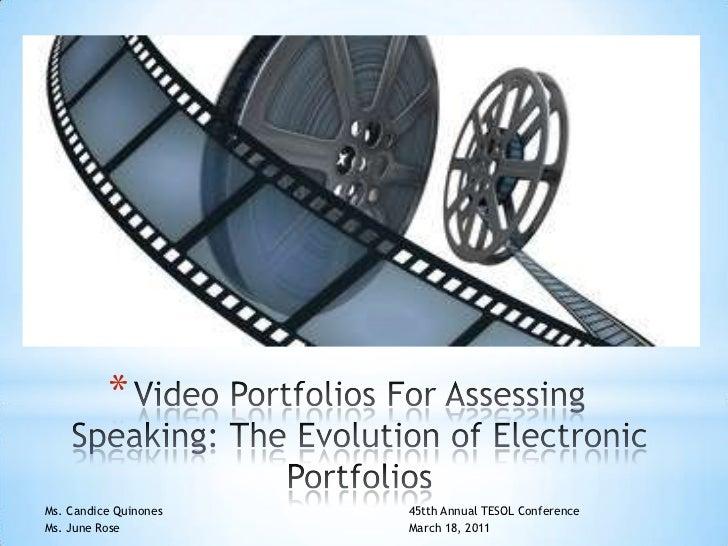 Video portfolios for speaking