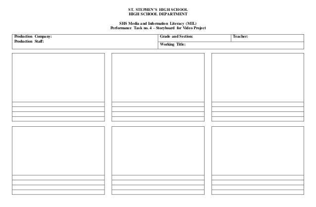 Video Project Storyboard Sheet