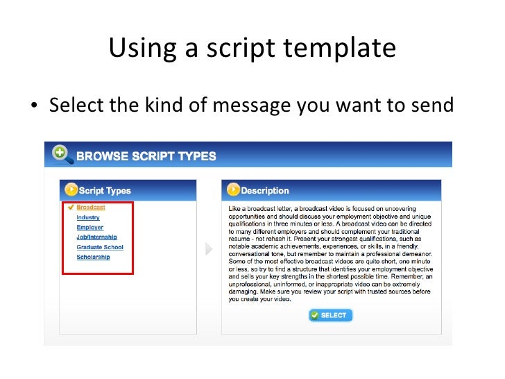 ... 4. Using A Script ...  Video Resume Script
