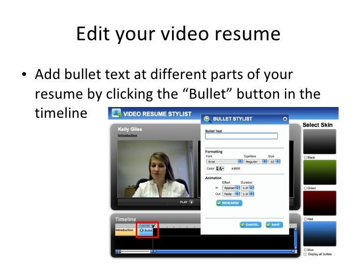 begin recording 9 edit your video resume