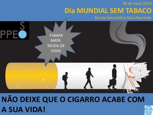 NÃO DEIXE QUE O CIGARRO ACABE COM A SUA VIDA! 30 de maio 2014 Dia MUNDIAL SEM TABACO Escola Secundária Gaia Nascente FUMAR...