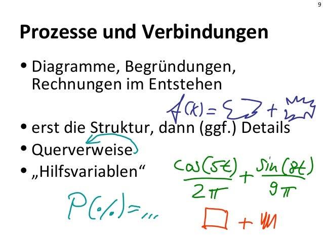 9 Prozesse und Verbindungen • Diagramme, Begründungen, Rechnungen im Entstehen • erst die Struktur, dann (ggf.) Details • ...