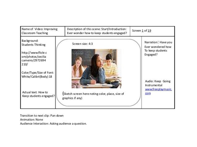 Name of Video: Improving         Description of this scene: Start/Introduction:   Screen 1 of 19 Classroom Teaching       ...