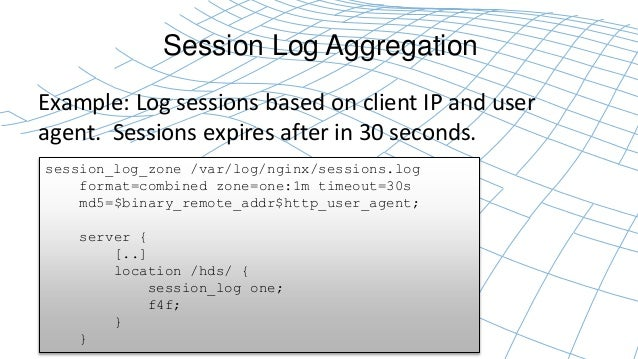 Session Log Aggregation  Example: Log sessions based on client IP and user  agent. Sessions expires after in 30 seconds.  ...