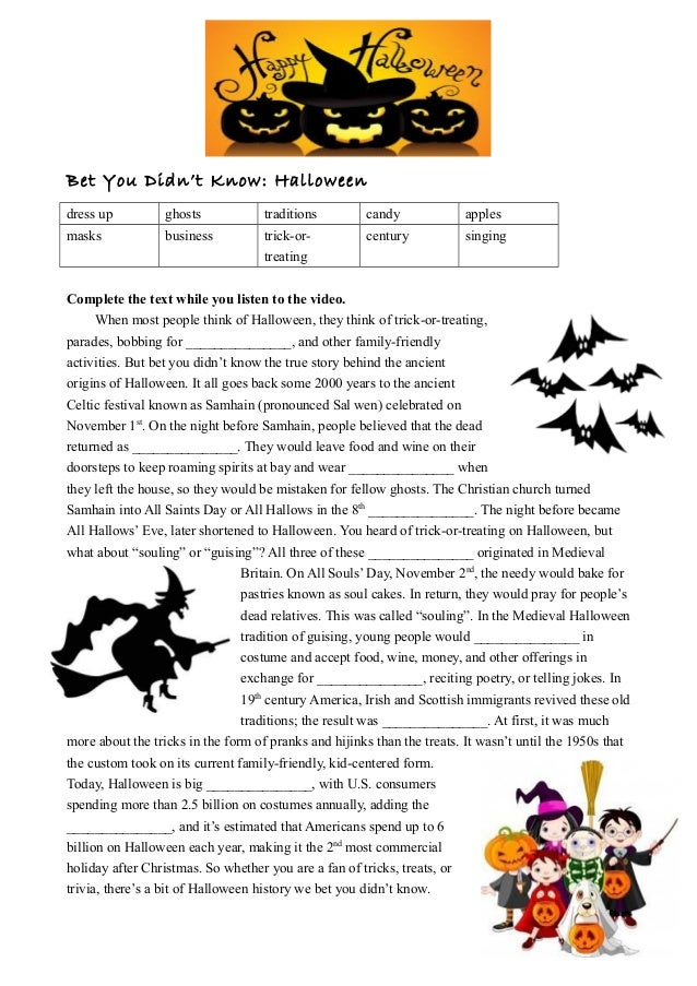 Bet You Didn't Know: Halloween dress up ghosts traditions candy apples masks business trick-or- treating century singing C...