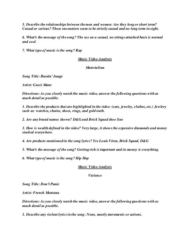 Lyric rap songs about money lyrics : Video worksheet