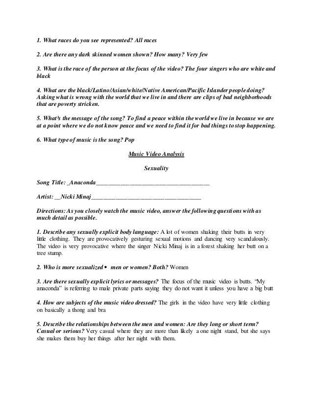 Video worksheet analysis – Song Analysis Worksheet