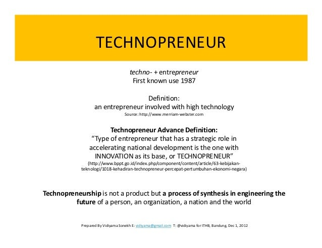 TECHNOPRENEURSHIP DEFINITION PDF DOWNLOAD