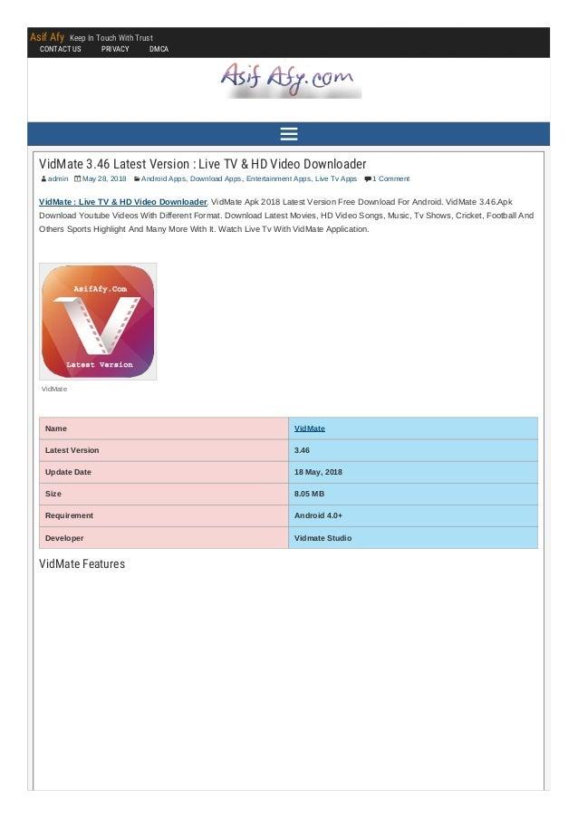 VidMate 3 46 [Latest Version 2018] Free Download