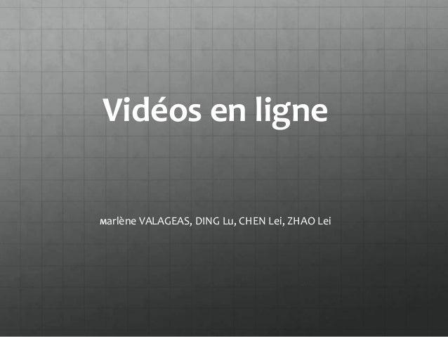 Vidéos en ligneMarlène VALAGEAS,   DING Lu, CHEN Lei, ZHAO Lei