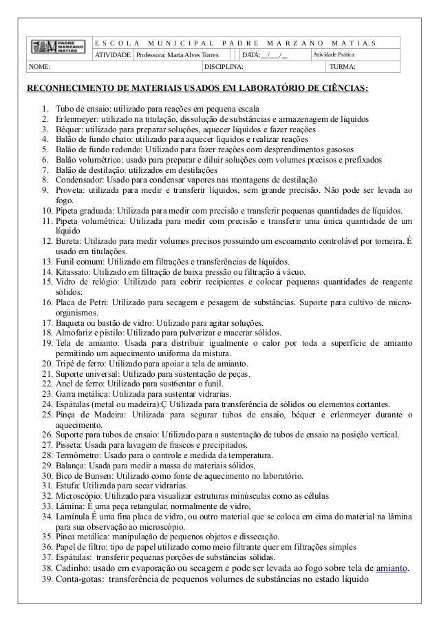 E S C O L A M U N I C I P A L P A D R E M A R Z A N O M A T I A S ATIVIDADE Professora: Marta Alves Torres DATA:__/___/__ ...