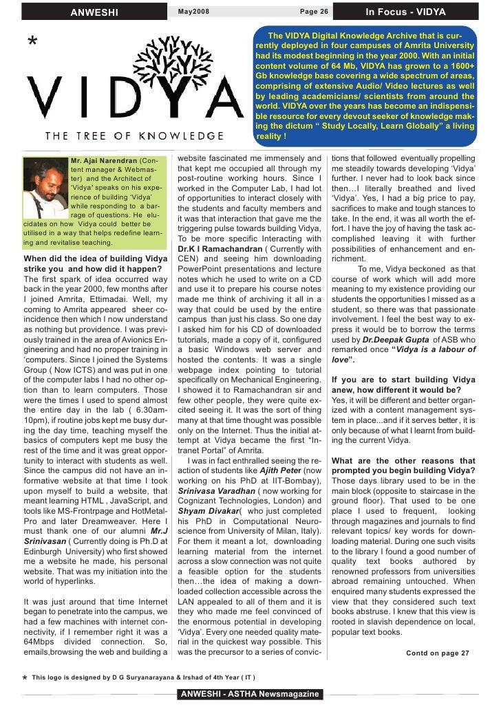 ANWESHI                           May2008                               Page 26             In Focus - VIDYA              ...