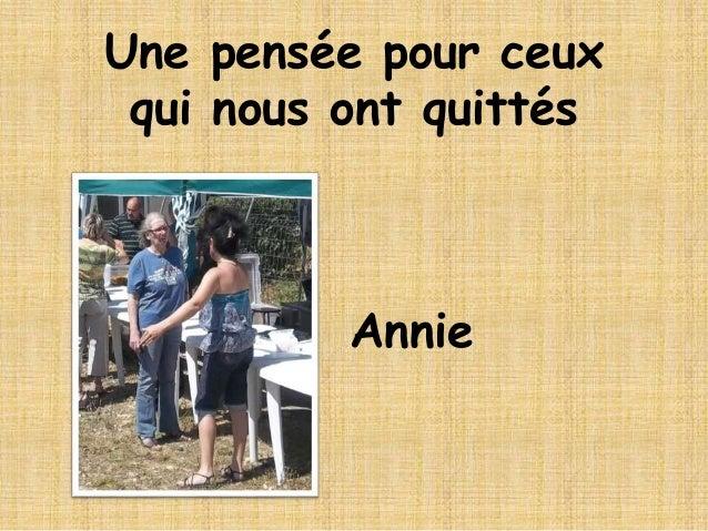 Annie Une pensée pour ceux qui nous ont quittés