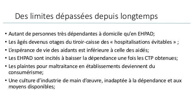 Des limites dépassées depuis longtemps • Autant de personnes très dépendantes à domicile qu'en EHPAD; • Les âgés devenus o...