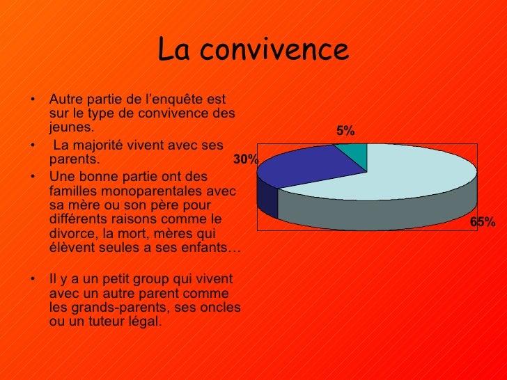 La convivence <ul><li>Autre partie de l'enquête est sur le type de convivence des jeunes. </li></ul><ul><li>La majorité vi...