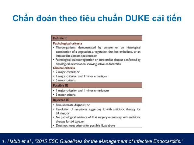 "Chẩn đoán theo tiêu chuẩn DUKE cải tiến 1. Habib et al., ""2015 ESC Guidelines for the Management of Infective Endocarditis..."
