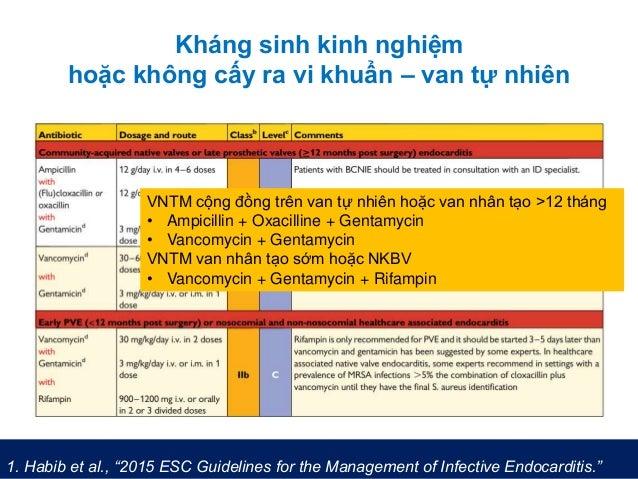 """Kháng sinh kinh nghiệm hoặc không cấy ra vi khuẩn – van tự nhiên 1. Habib et al., """"2015 ESC Guidelines for the Management ..."""