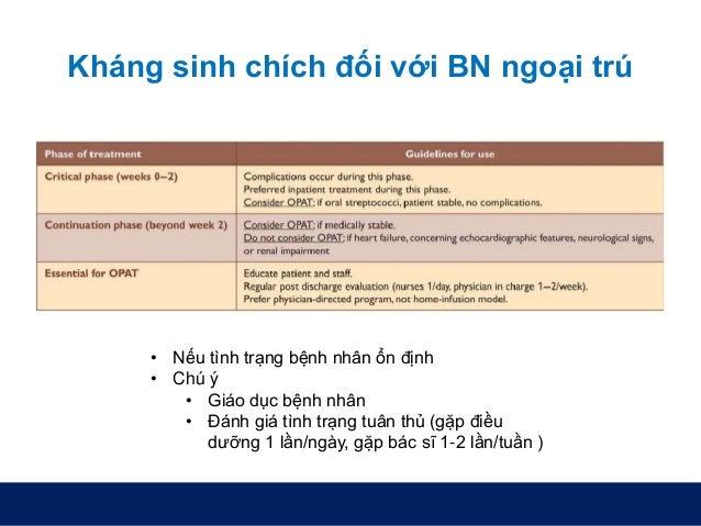 Kháng sinh chích đối với BN ngoại trú • Nếu tình trạng bệnh nhân ổn định • Chú ý • Giáo dục bệnh nhân • Đánh giá tình trạn...