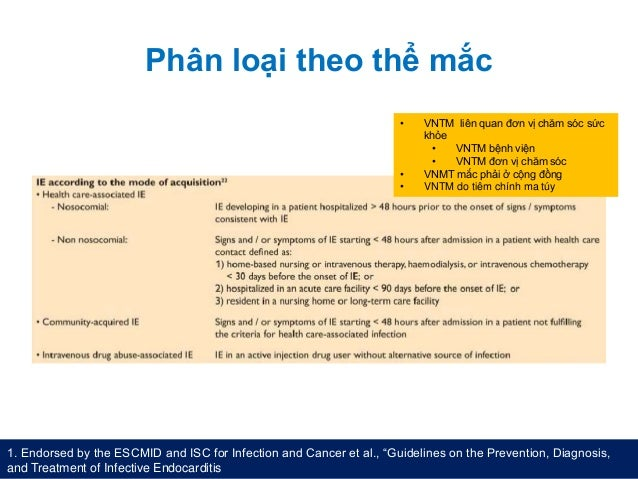 """Phân loại theo thể mắc 1. Endorsed by the ESCMID and ISC for Infection and Cancer et al., """"Guidelines on the Prevention, D..."""